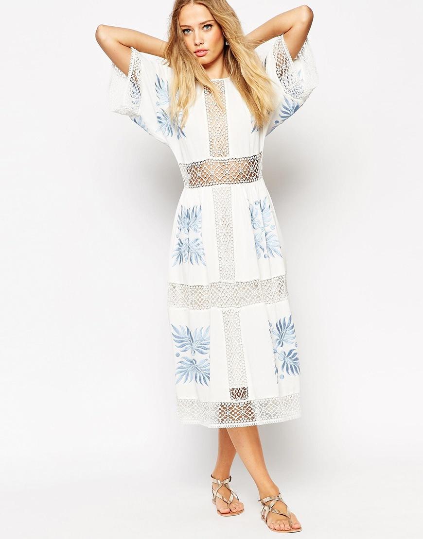 Lyst asos premium crochet cutwork midi dress with blue
