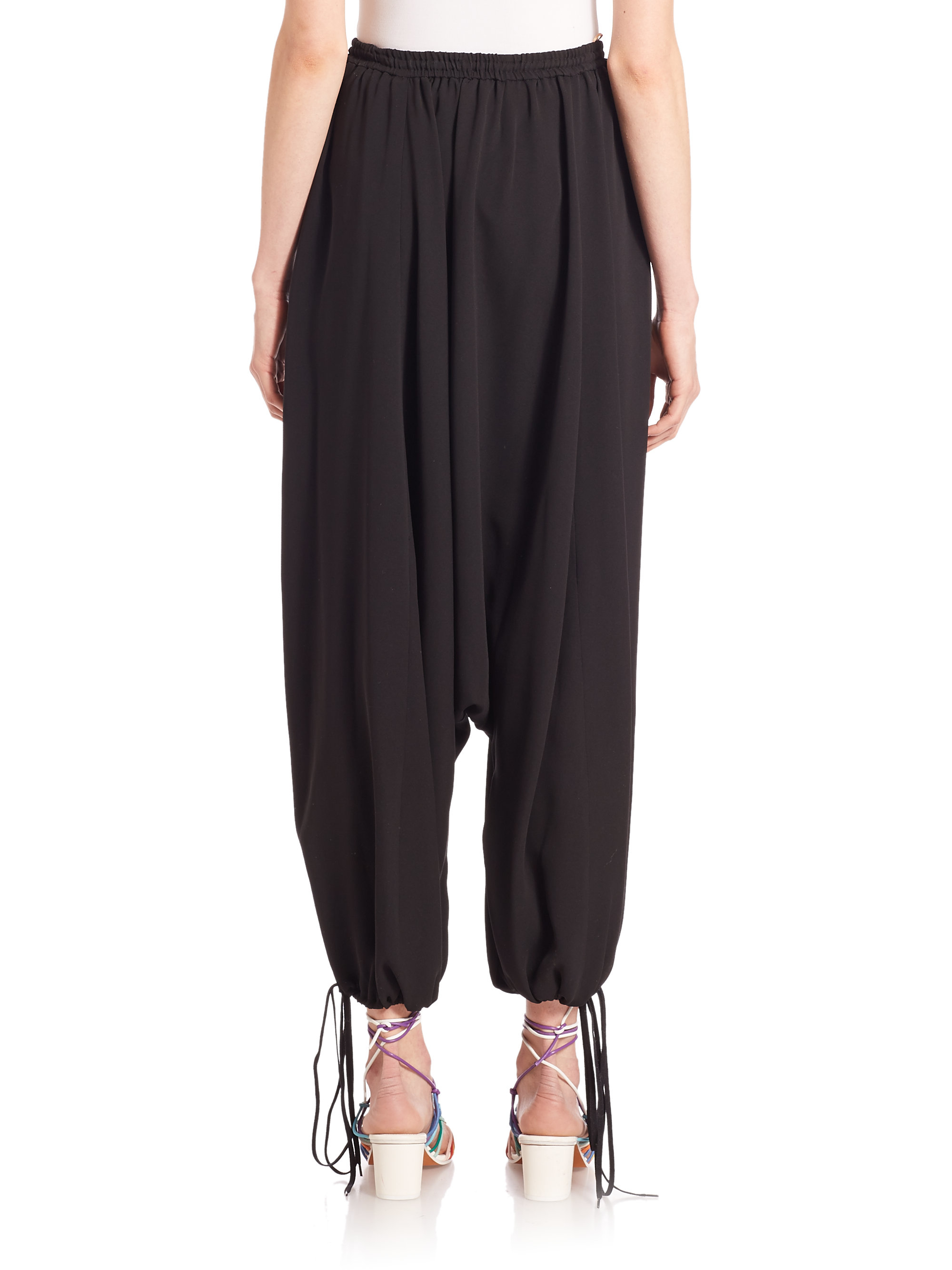 Chloé Silk Harem Pants in Black | Lyst