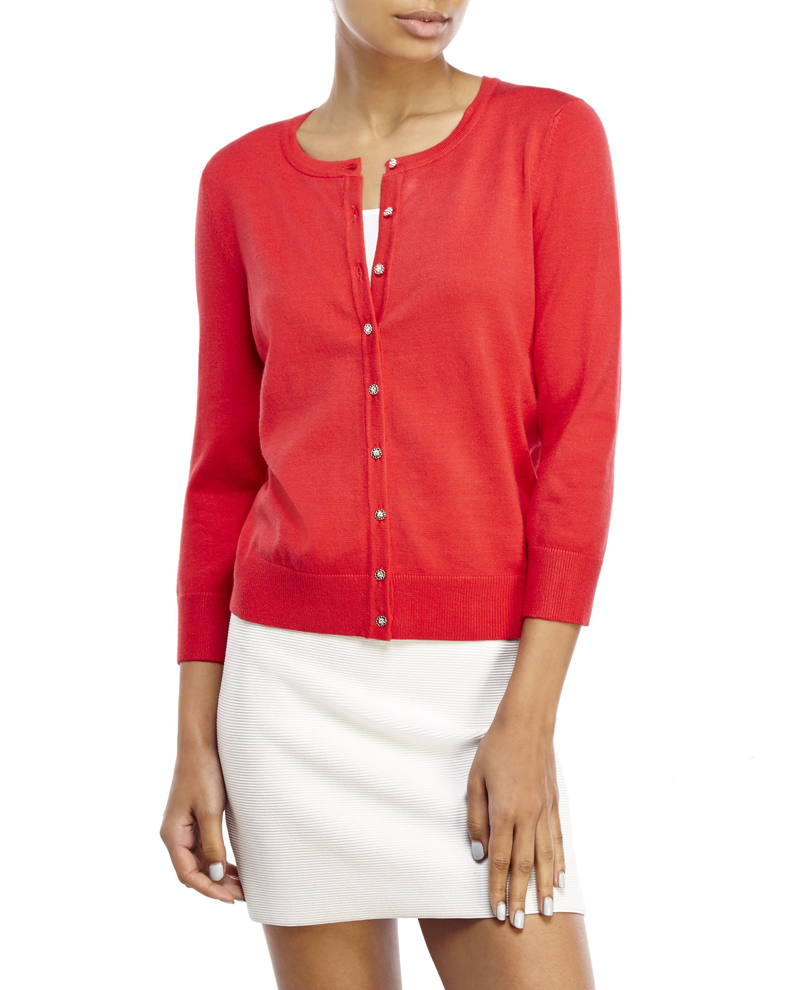Lyst Cable Gauge Floral Button Cardigan In Pink