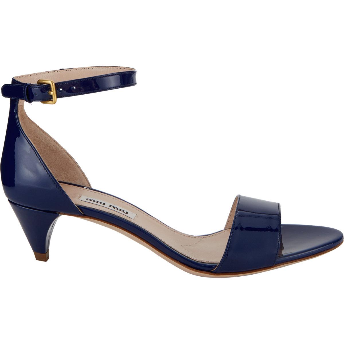 Lyst - Miu Miu Patent Ankle-Strap Sandals in Blue