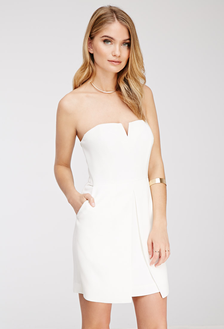 Forever 21 Contemporary Strapless Mini Dress in White | Lyst
