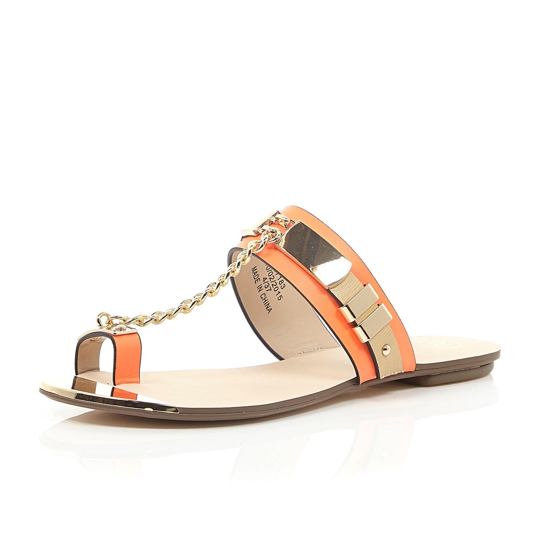654a423ba7dc3e River Island Orange Snake Print Chain Sandals in Orange - Lyst