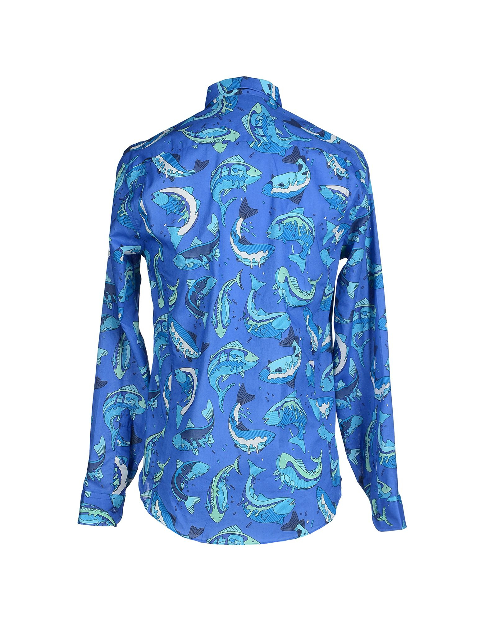 Kenzo mens blue fish print shirt in blue for men lyst for Blue fish clothing