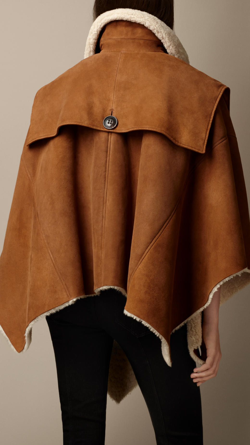 Lyst Burberry Shearling Poncho Cape In Brown