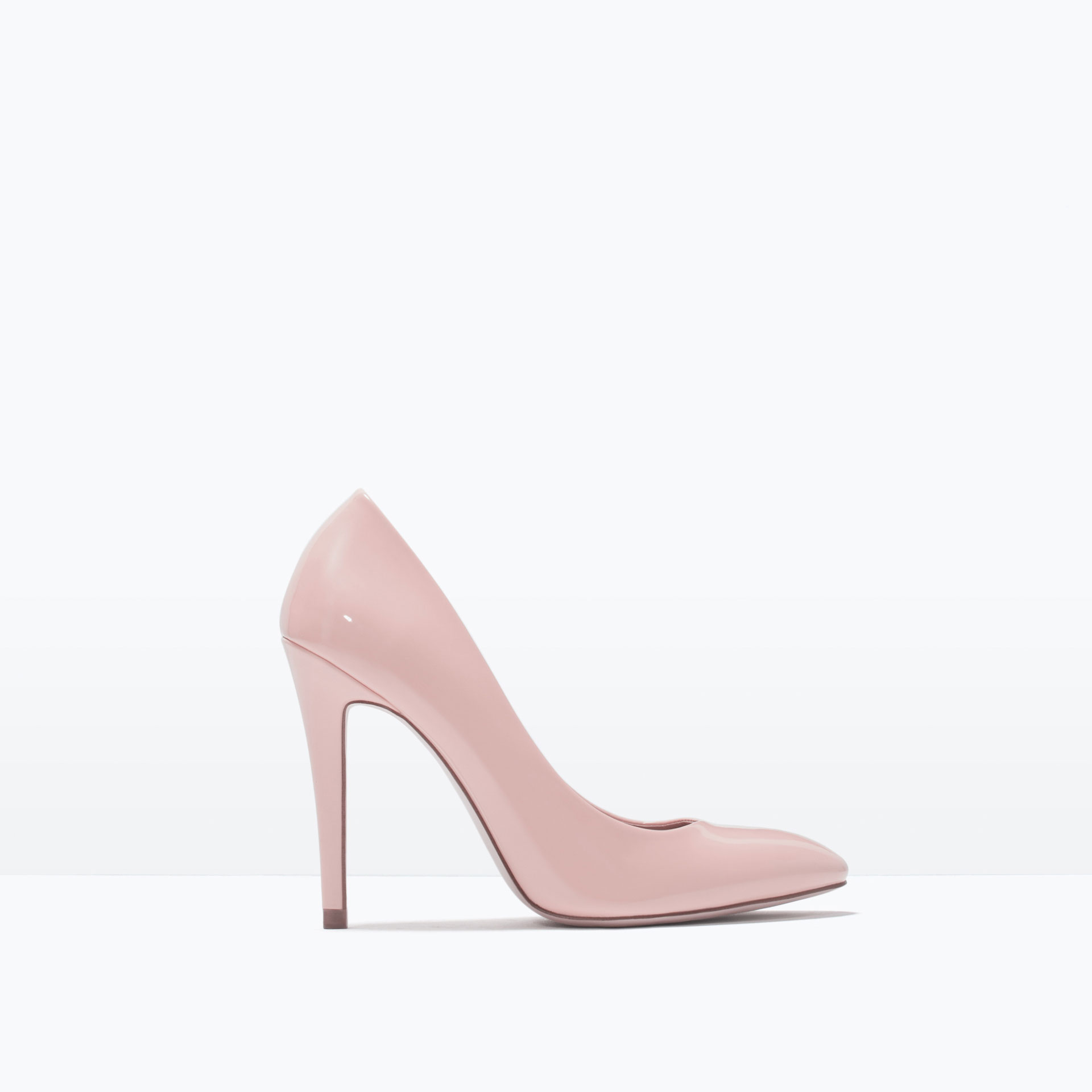zara faux patent leather high heel court shoe in pink lyst