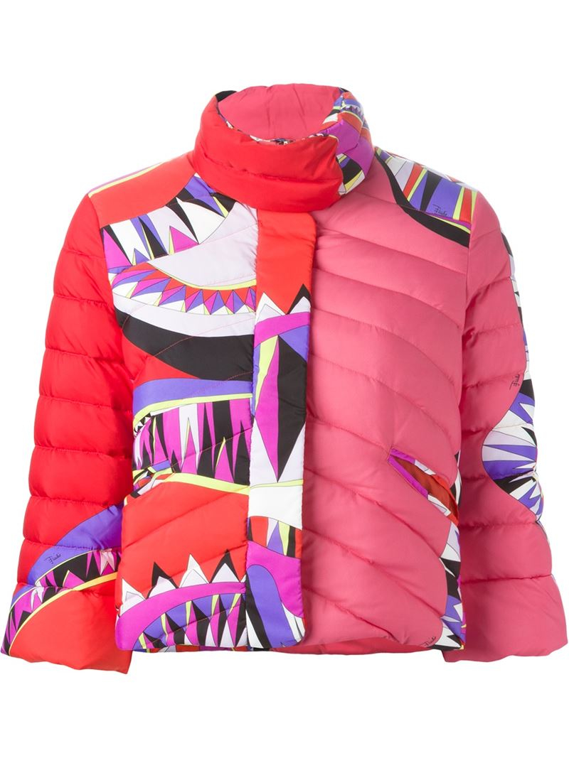 e1deb8fcac8d Lyst - Emilio Pucci Printed Padded Cropped Jacket in Pink