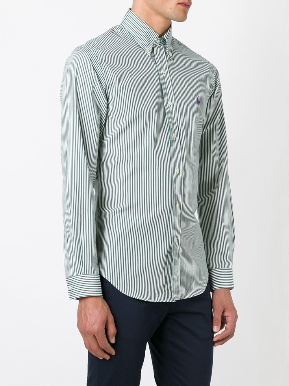 Polo ralph lauren striped button down shirt in green for for Striped button down shirts for men