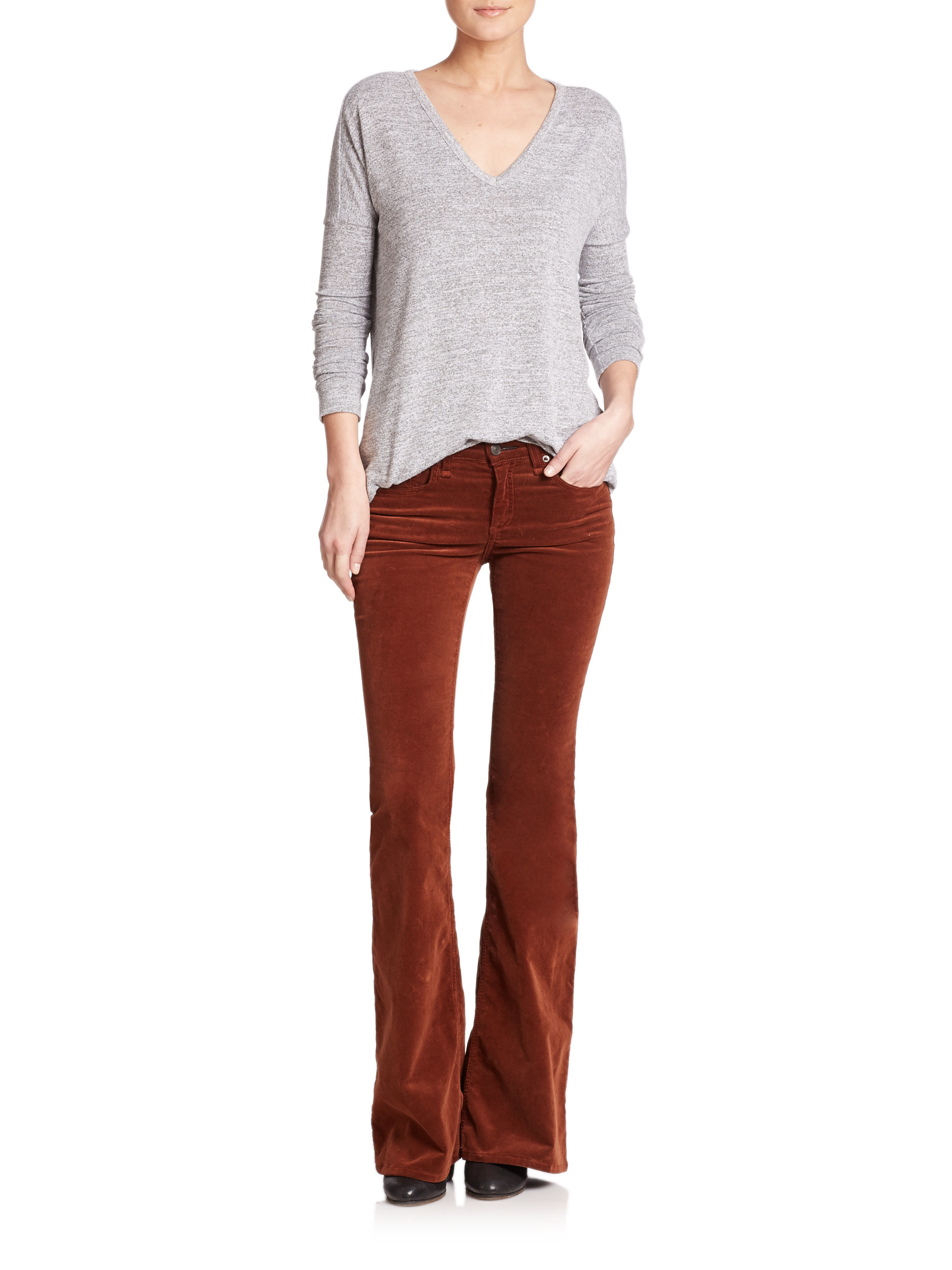 Rag & bone Mid-rise Stretch Corduroy Flared Jeans in Brown | Lyst