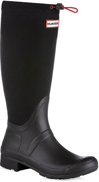 Hunter Original Canvas Tour Welly In Black Natural Lyst
