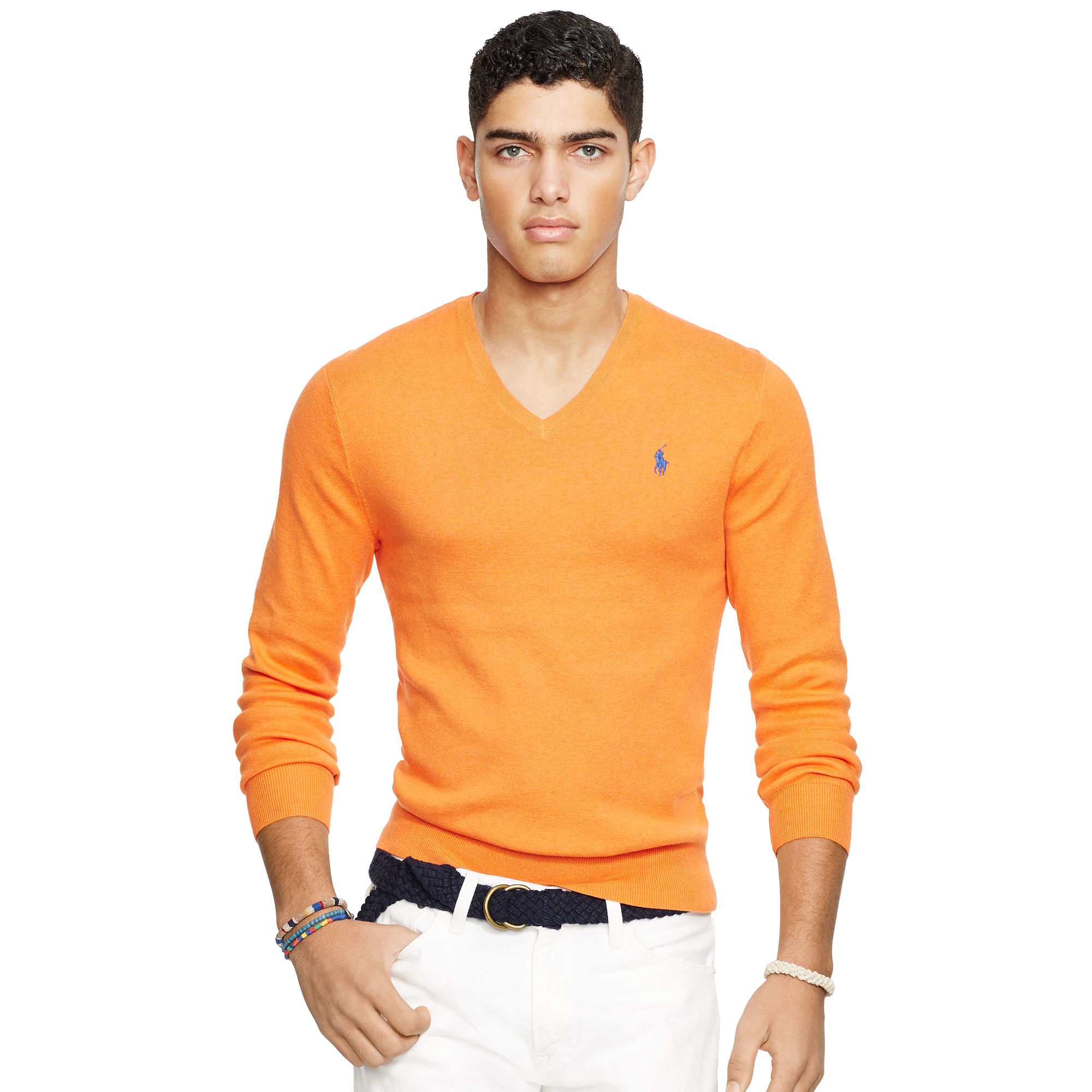 Polo ralph lauren Slim-fit Pima Cotton Sweater in Orange for Men ...