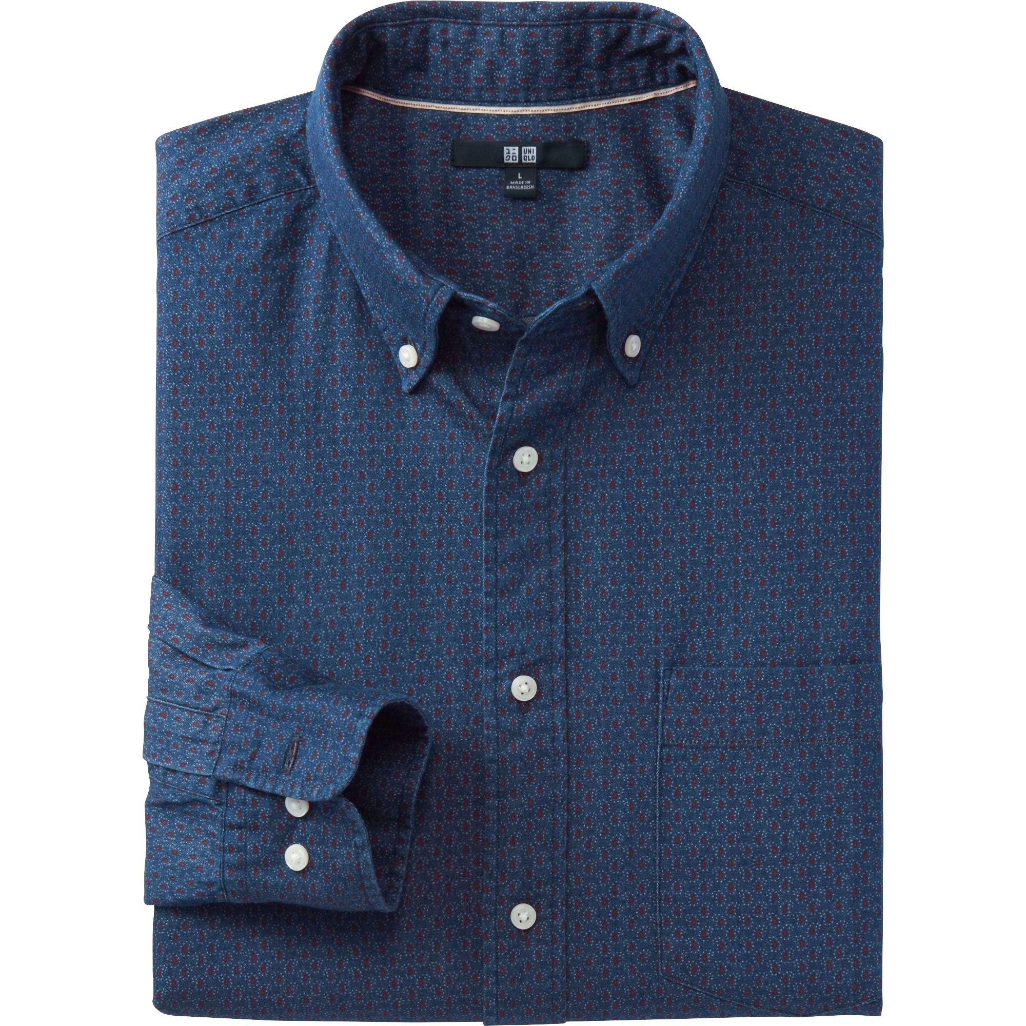 Uniqlo Men Denim Printed Long Sleeve Shirt In Blue For Men