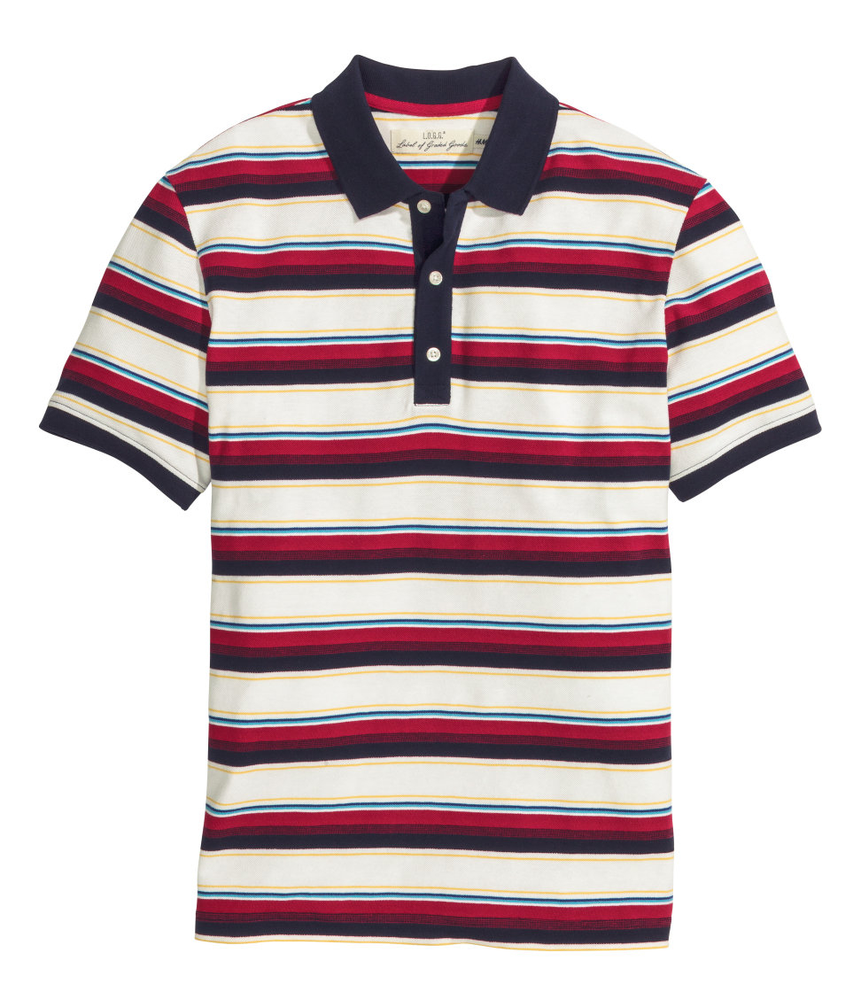 Lyst h m patterned polo shirt in red for men for H m polo shirt mens