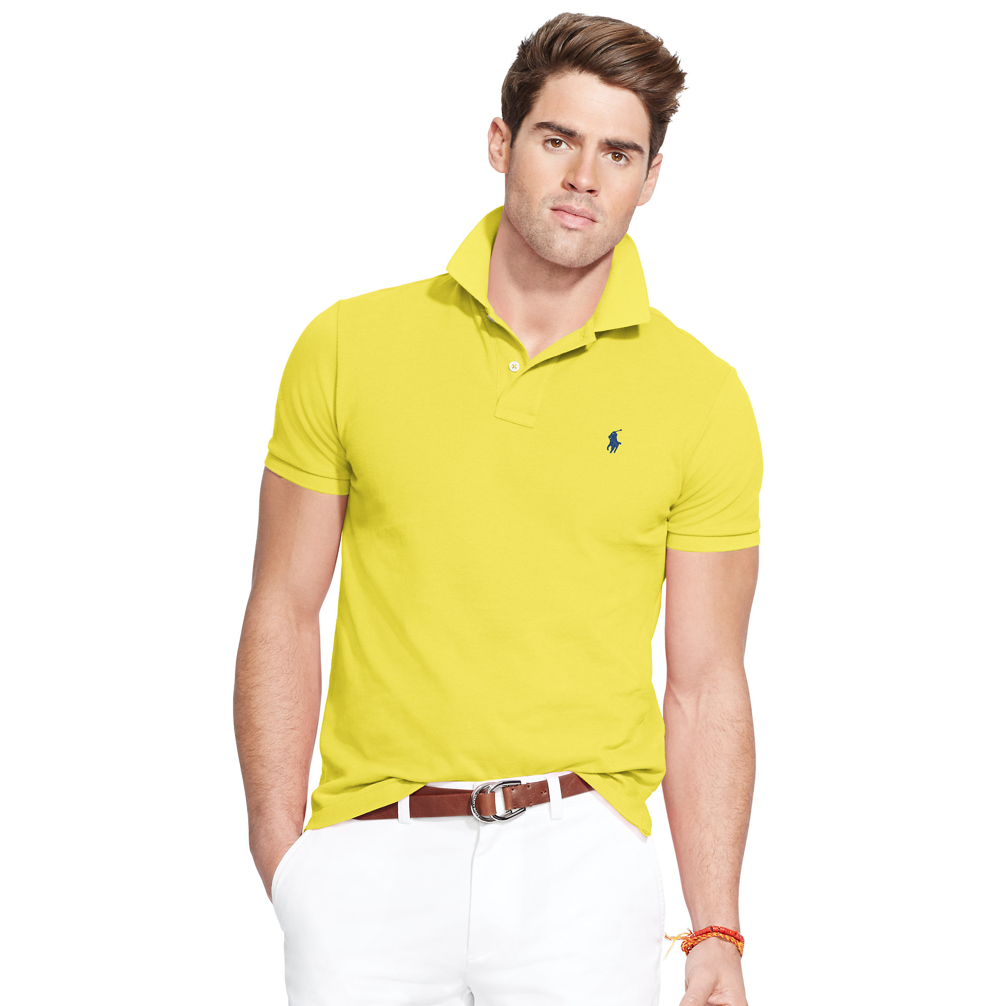 8031f4ff3a850 Lyst - Polo Ralph Lauren Classic-fit Mesh Polo Shirt in Yellow for Men