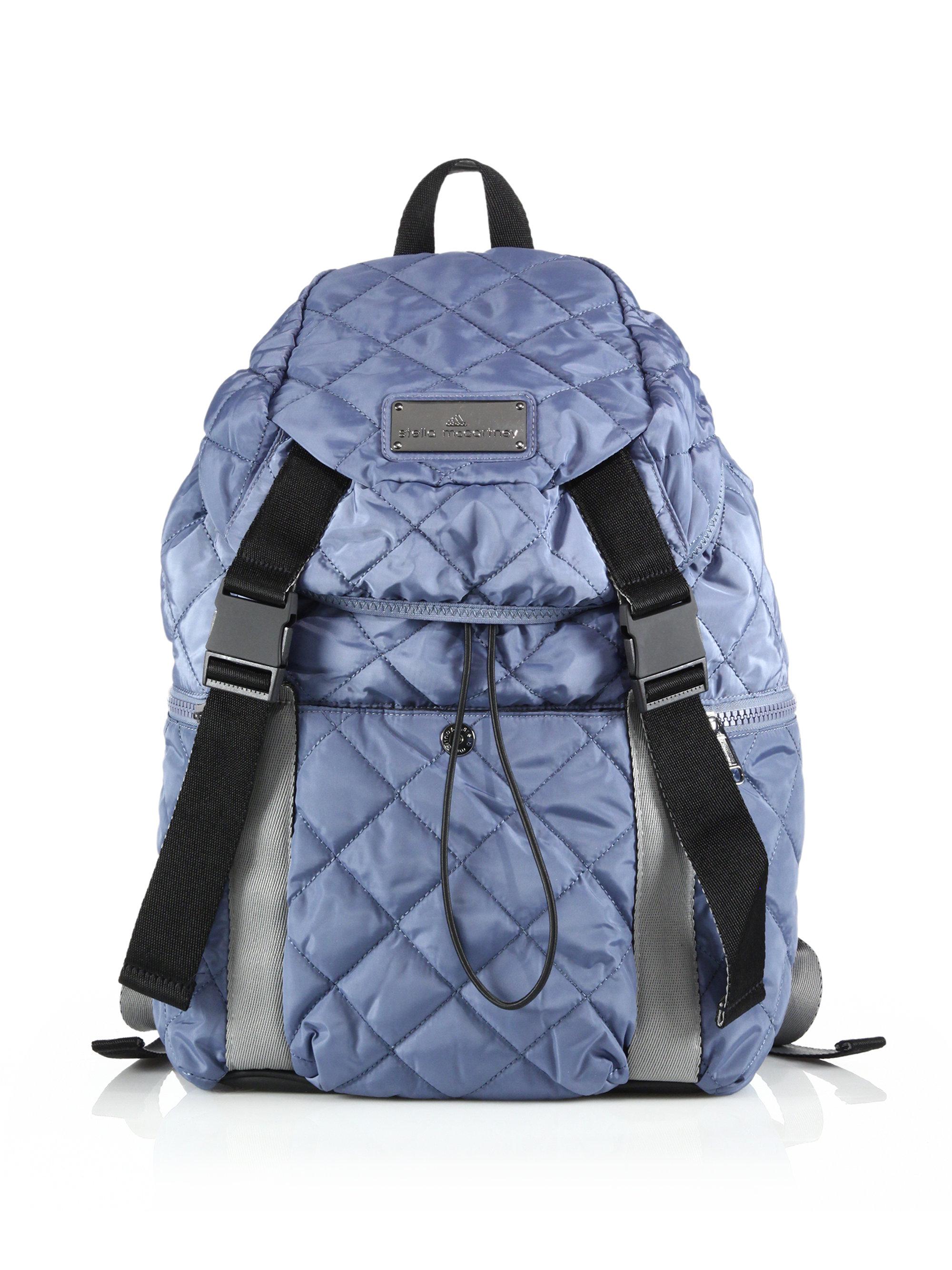 lyst adidas by stella mccartney quilted weekender backpack in blue. Black Bedroom Furniture Sets. Home Design Ideas