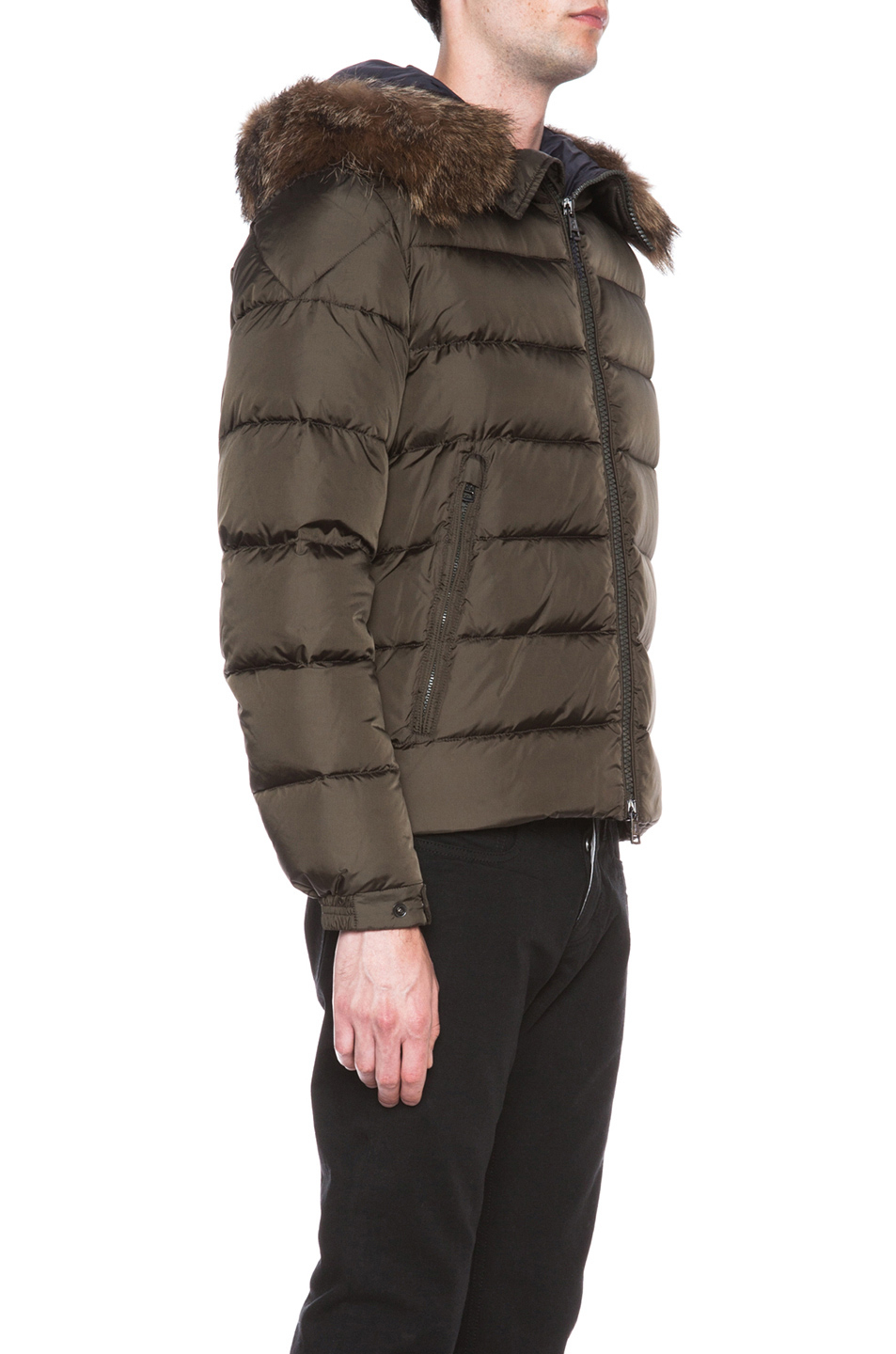 6485b2c53 Lyst - Moncler Byron Jacket with Fur Hood in Brown