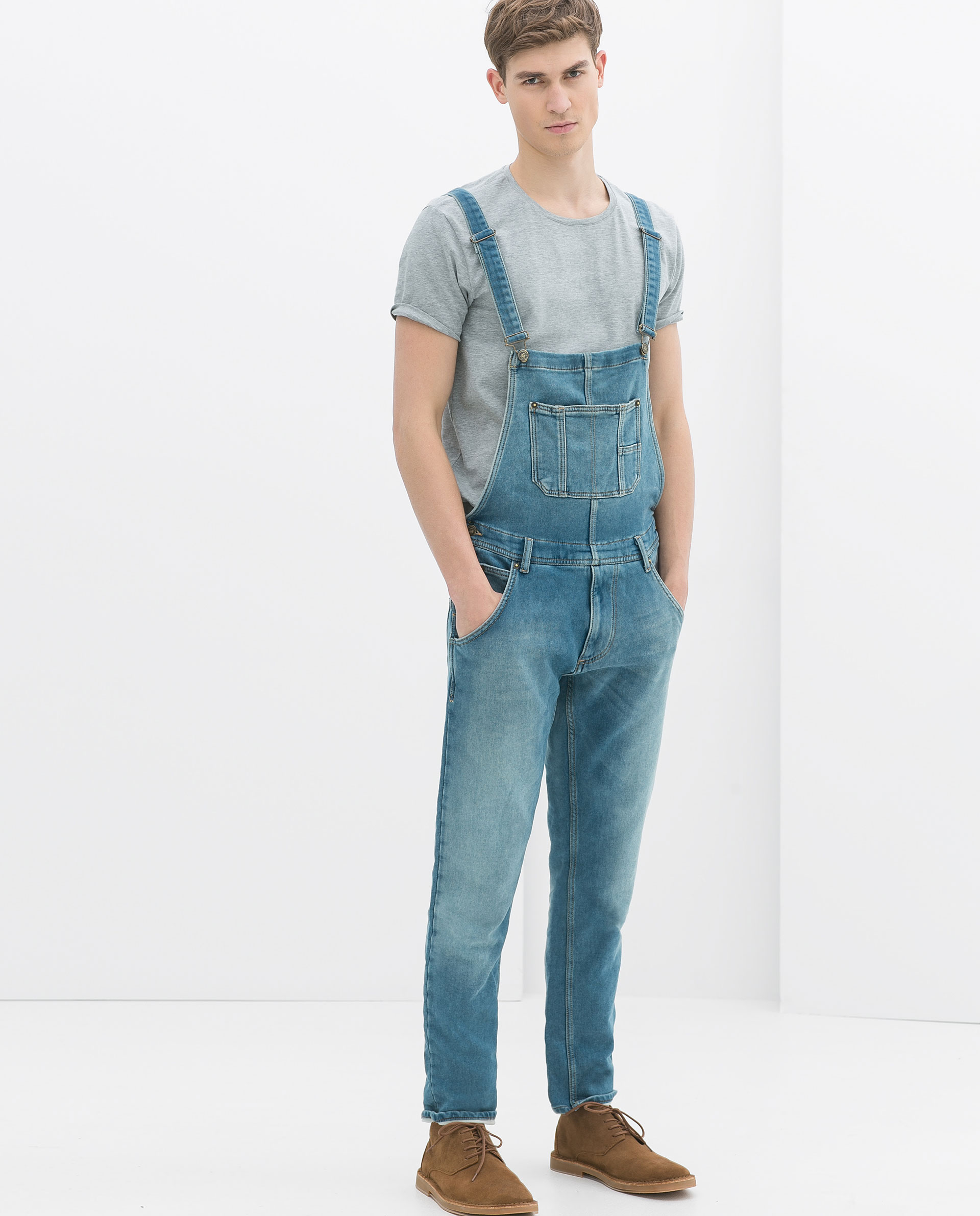 zara classic velour denim dungarees in blue for men lyst. Black Bedroom Furniture Sets. Home Design Ideas