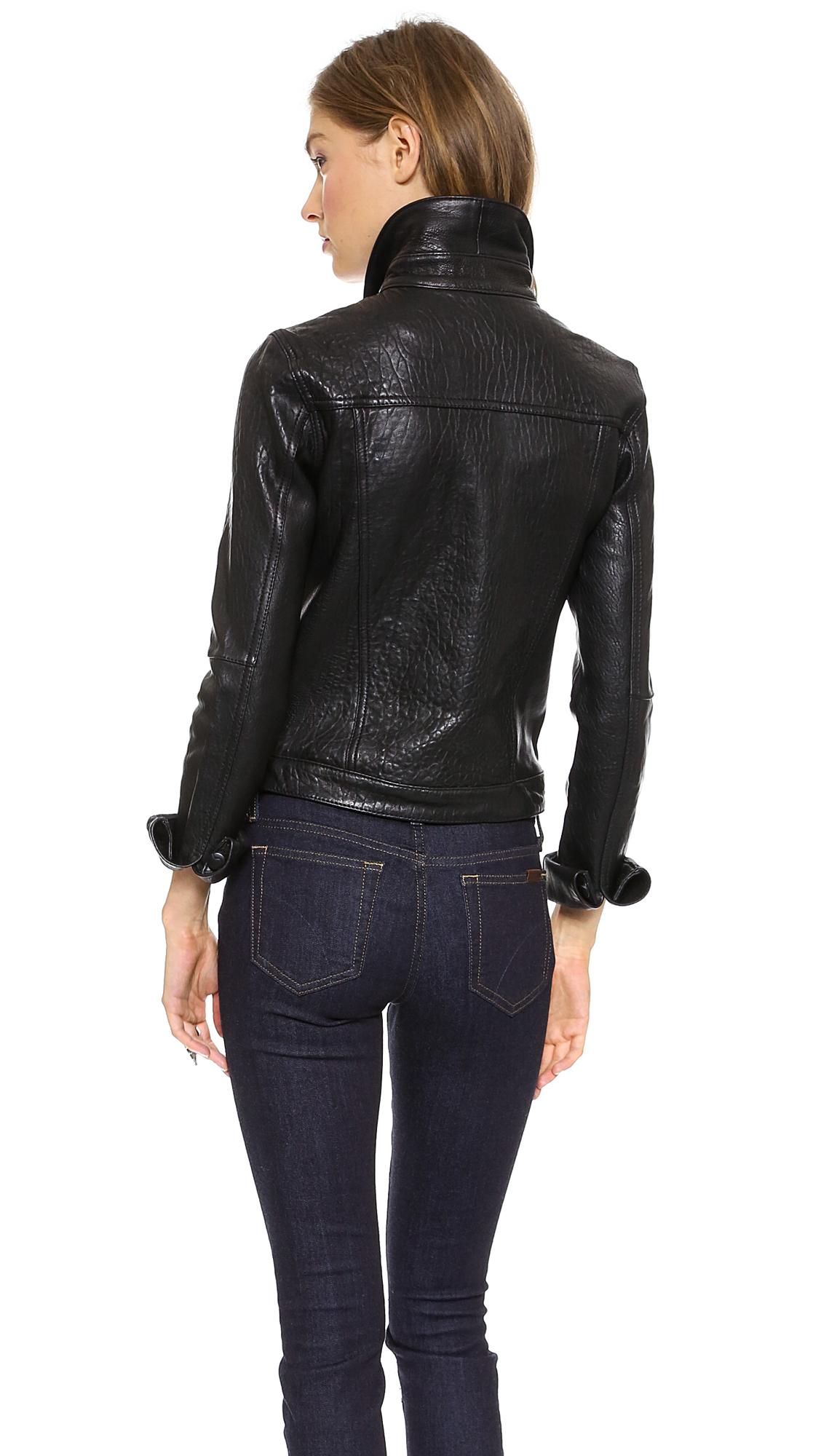 Lyst joe 39 s jeans leather jacket in black for Leather jacket and shirt