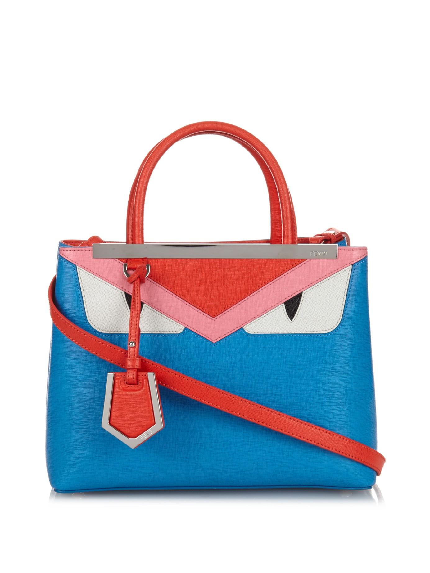 162a73079e Lyst - Fendi Petite 2Jours Bag Bugs Leather Cross-Body Bag in Blue
