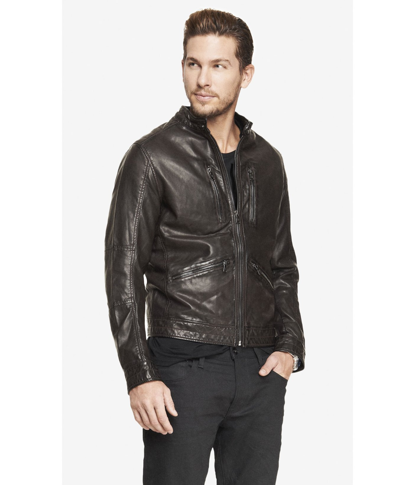 Express Minus The Leather Hooded System Jacket In Brown