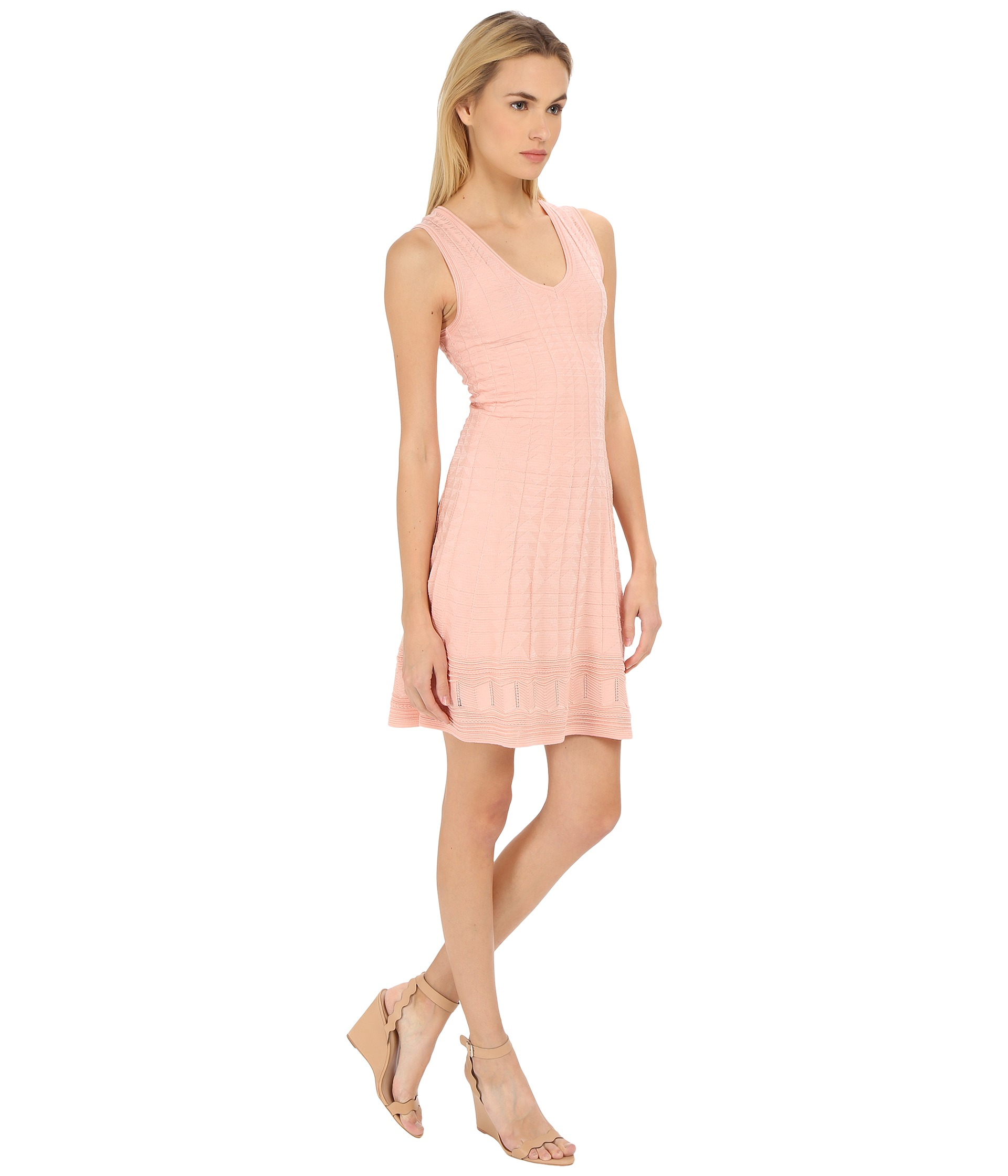 Lyst m missoni solid v neck dress in pink gallery ombrellifo Gallery