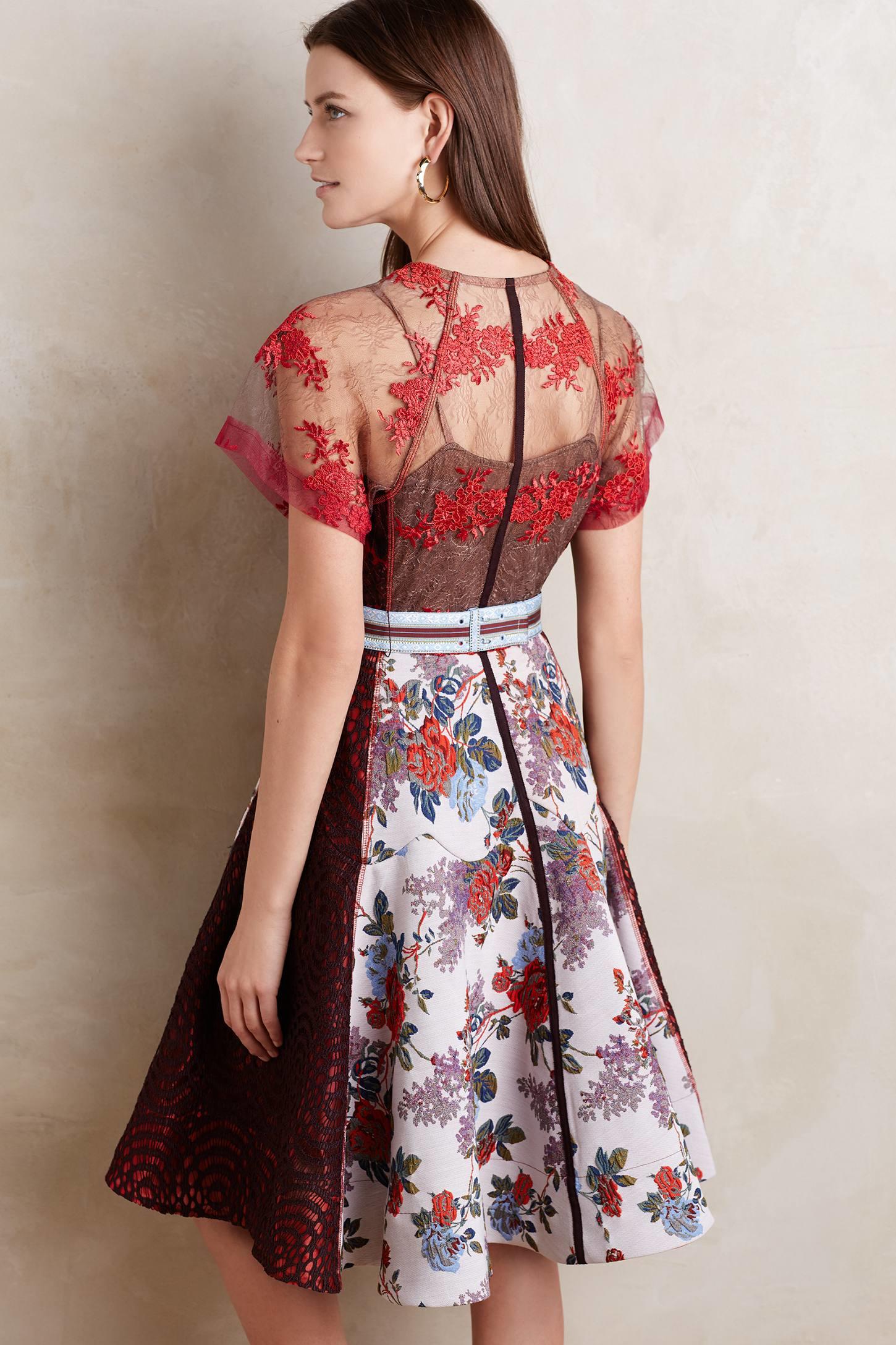 byron lars beauty mark winter rose dress in red lyst