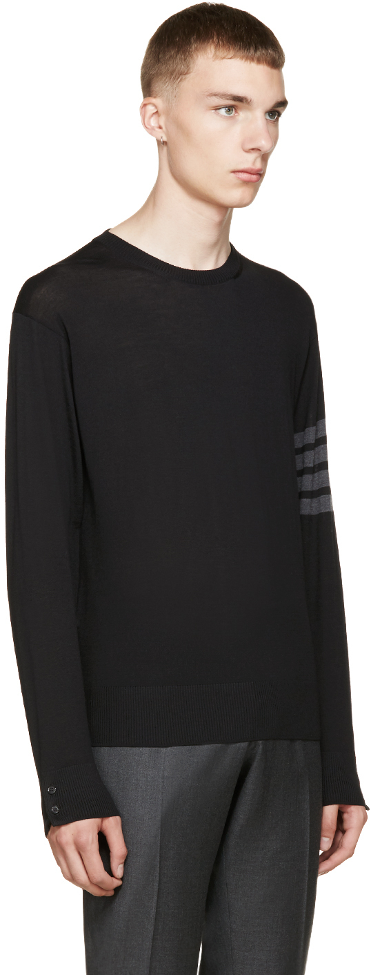 Thom browne Black Merino Wool Sweater in Black for Men | Lyst