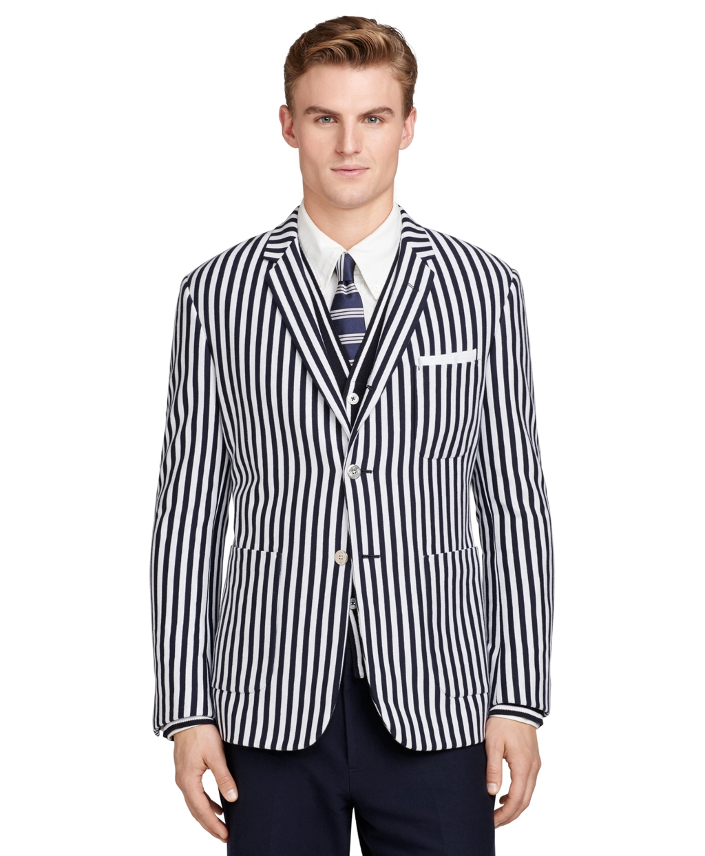 40fd2005ae1 Lyst - Brooks Brothers Stripe Patch Pocket Sport Coat in Blue for Men