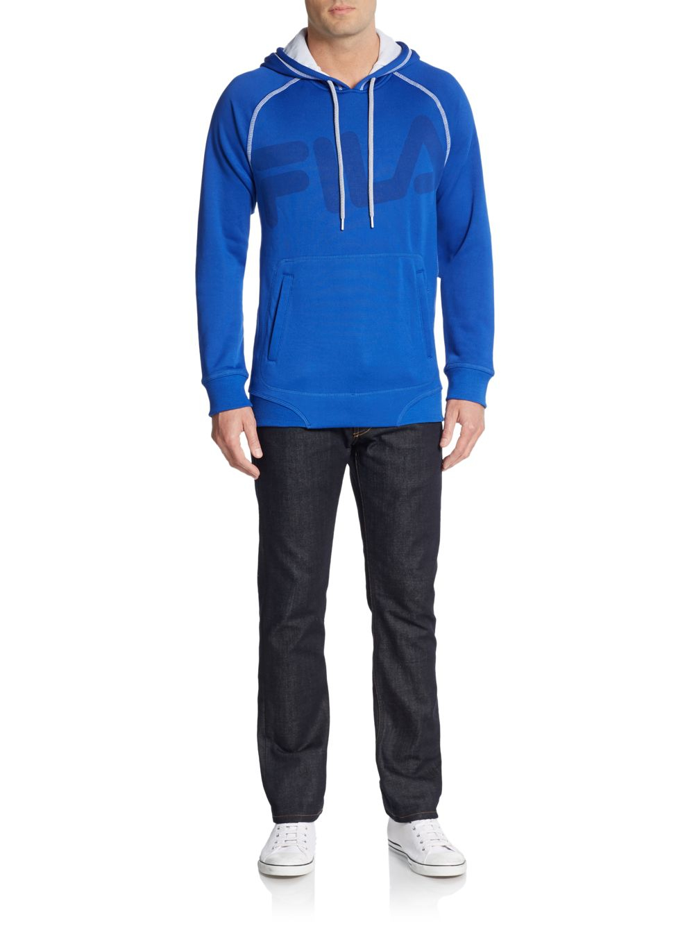 Lyst Fila Freestyle Logo Drawstring Hoodie In Blue For Men