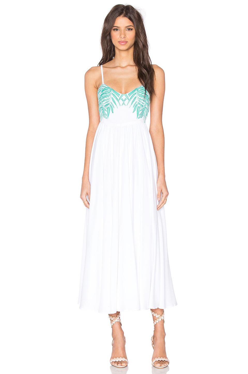 Mara hoffman leaf embroidered tie back dress in white lyst