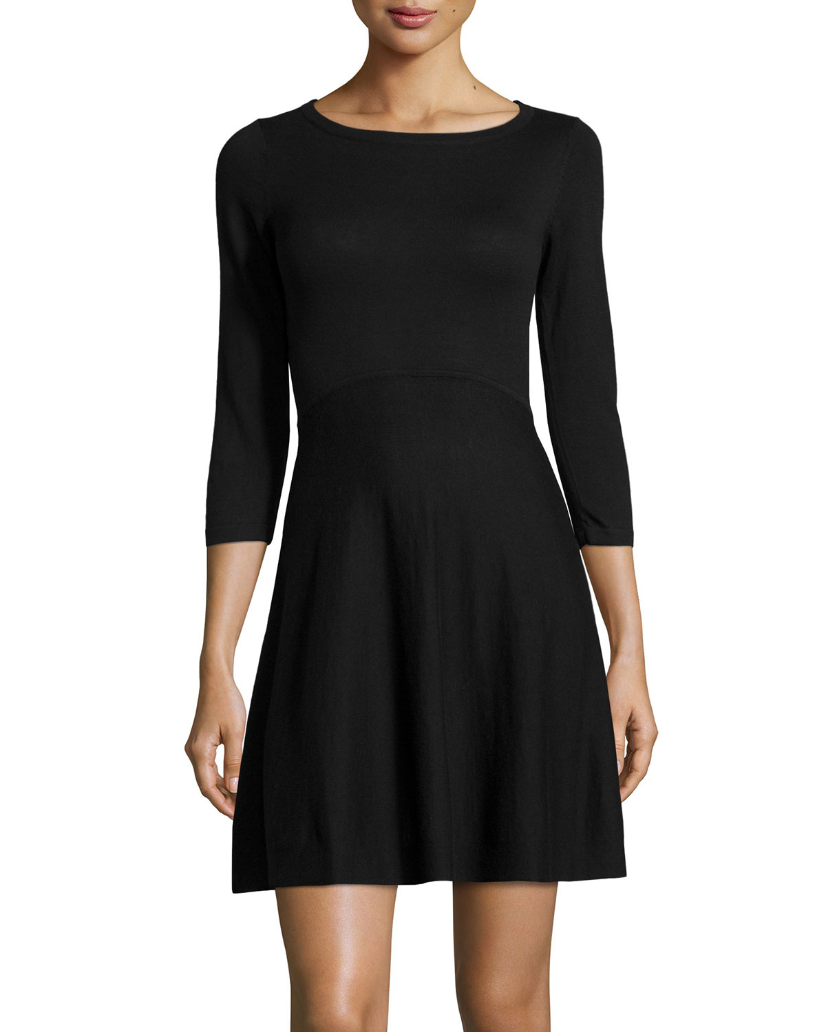 154395bbf9c Lyst - French Connection Sydney 3 4-sleeve Fit-and-flare Dress in Black
