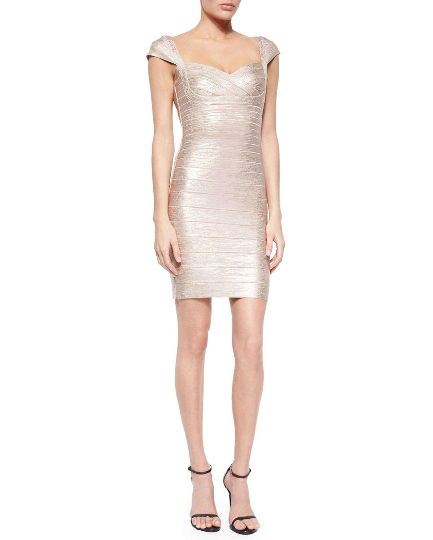 1a5990ba97d56 Hervé Léger Cap-sleeve Shimmer Bandage Dress in Metallic - Lyst