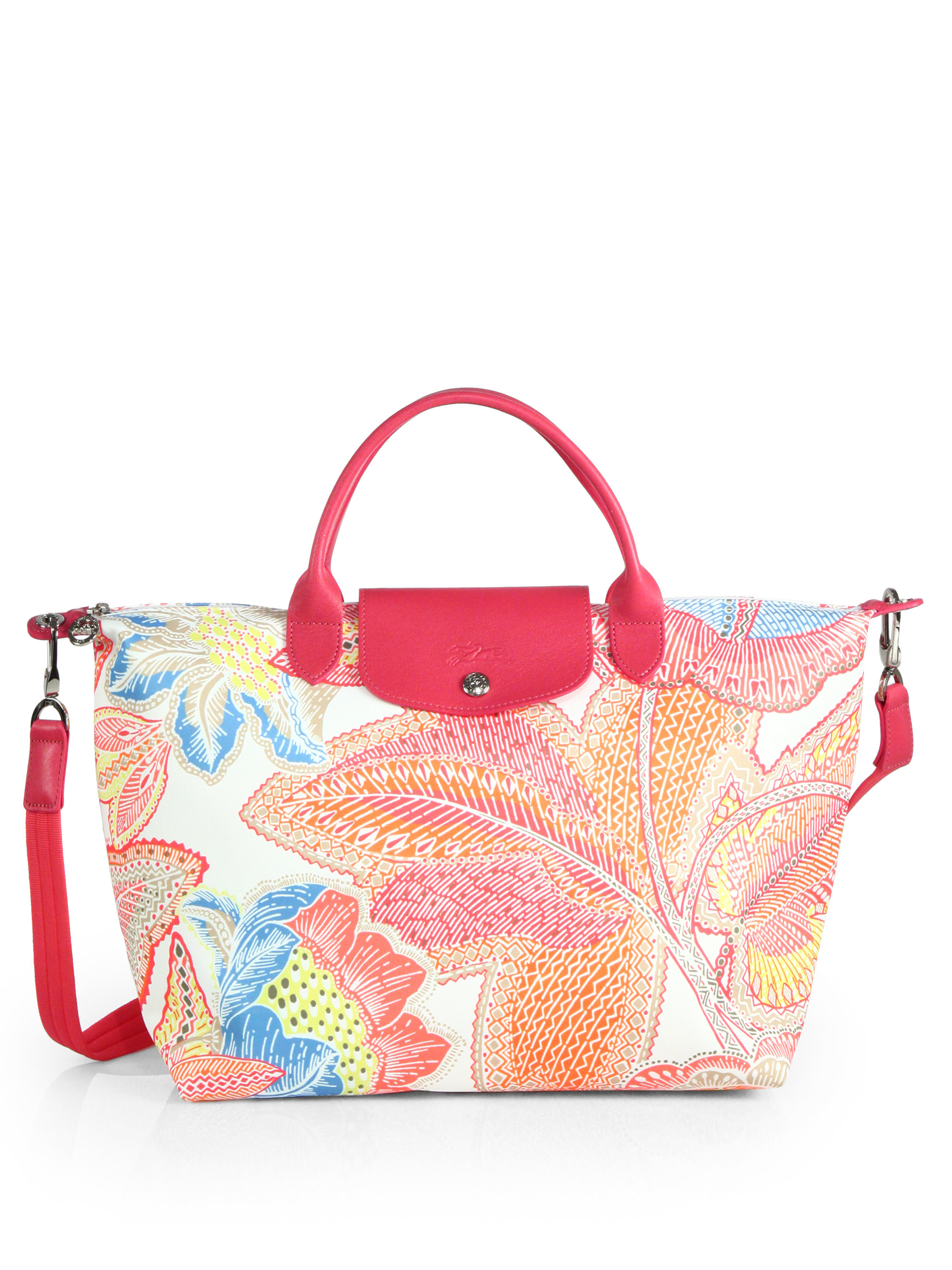 bd08cd8c027 Longchamp Fleurs Medium Printed Nylon Bag in Pink - Lyst
