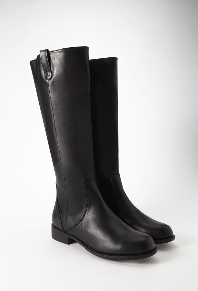 Forever 21 Faux Leather Riding Boots in Black | Lyst