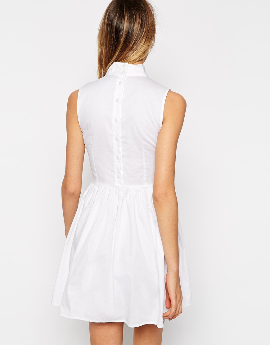 Asos Petite Exclusive Cotton Skater Dress With High Neck