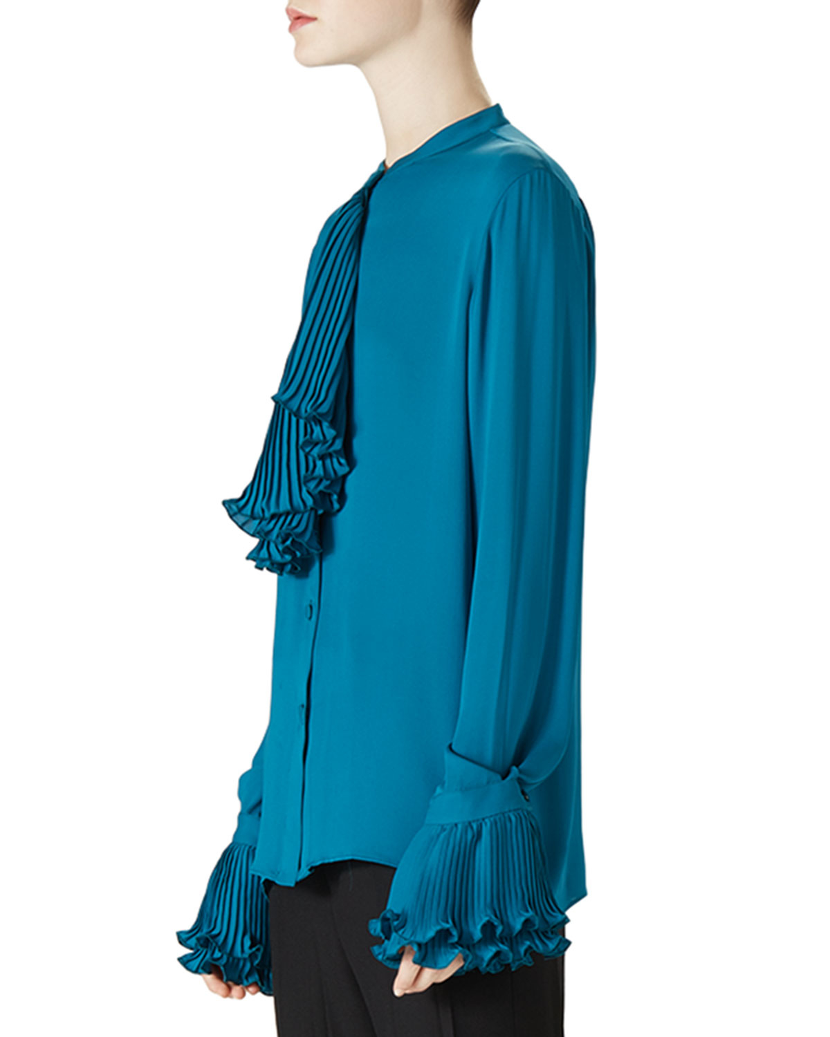 Lyst gucci silk button down shirt in blue for Black silk button down shirt