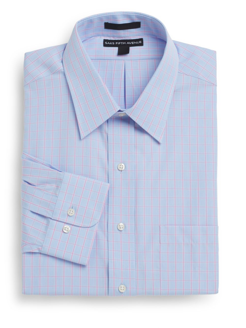 Lyst saks fifth avenue regular fit windowpane two ply for 2 ply cotton dress shirt