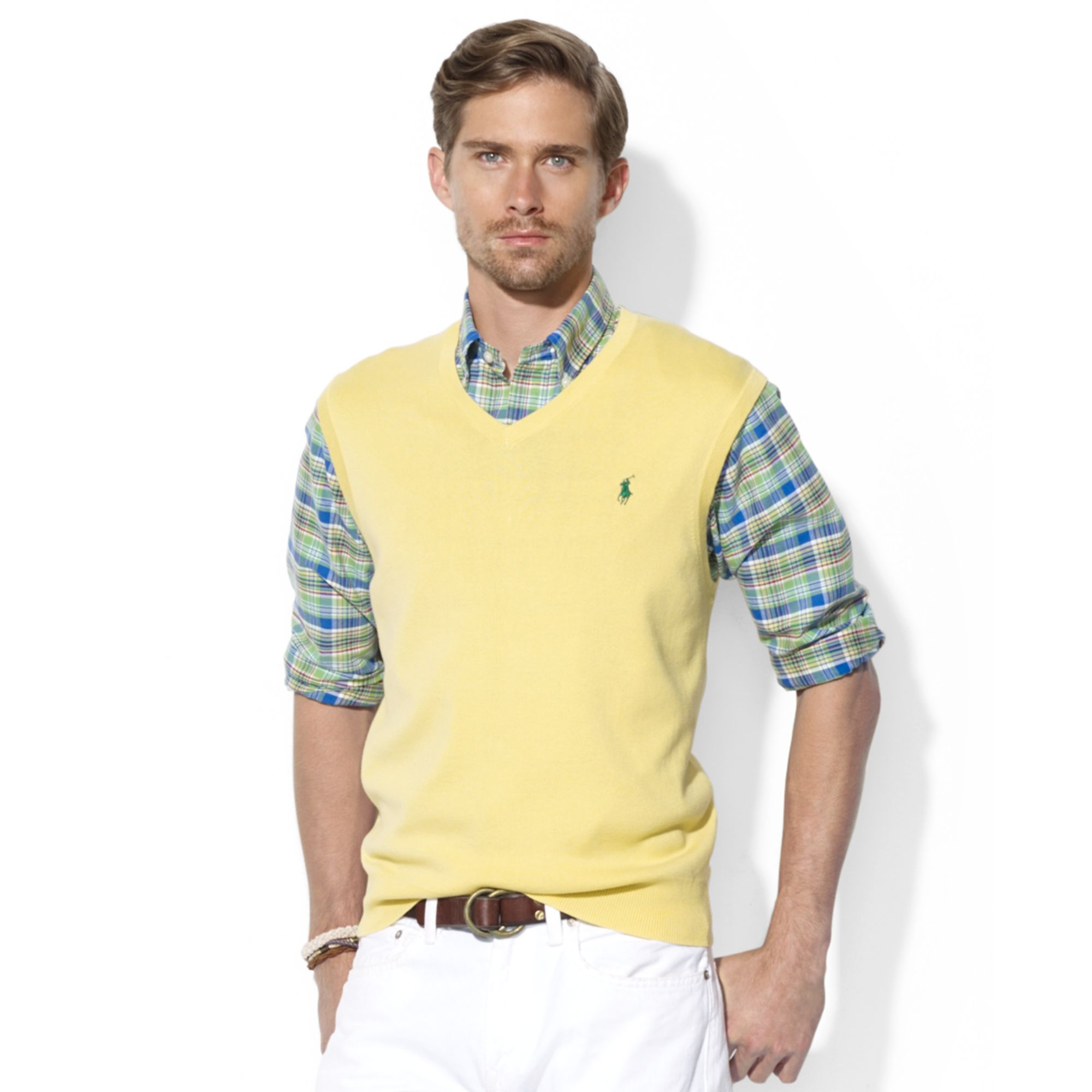 a3617d73 Ralph Lauren Yellow Polo V Neck Pima Cotton Sweater Vest for men