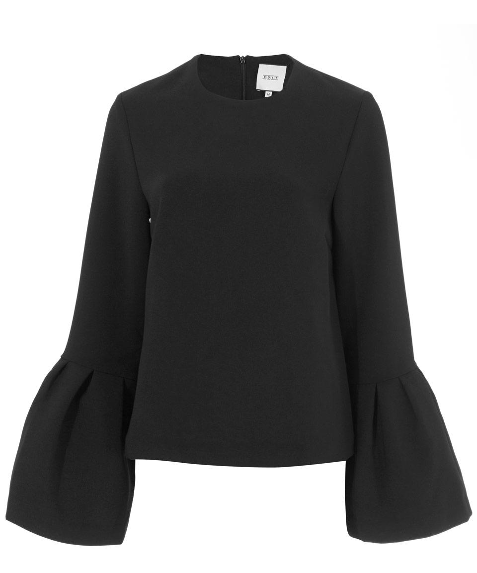 Edit Black Flared Sleeve Top in Black
