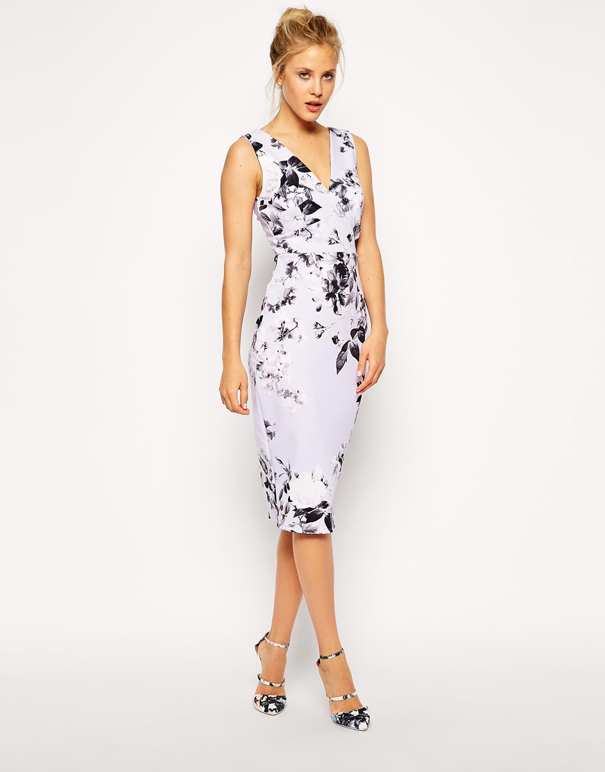 Lyst - Asos Lilac Floral Pencil Dress in Purple