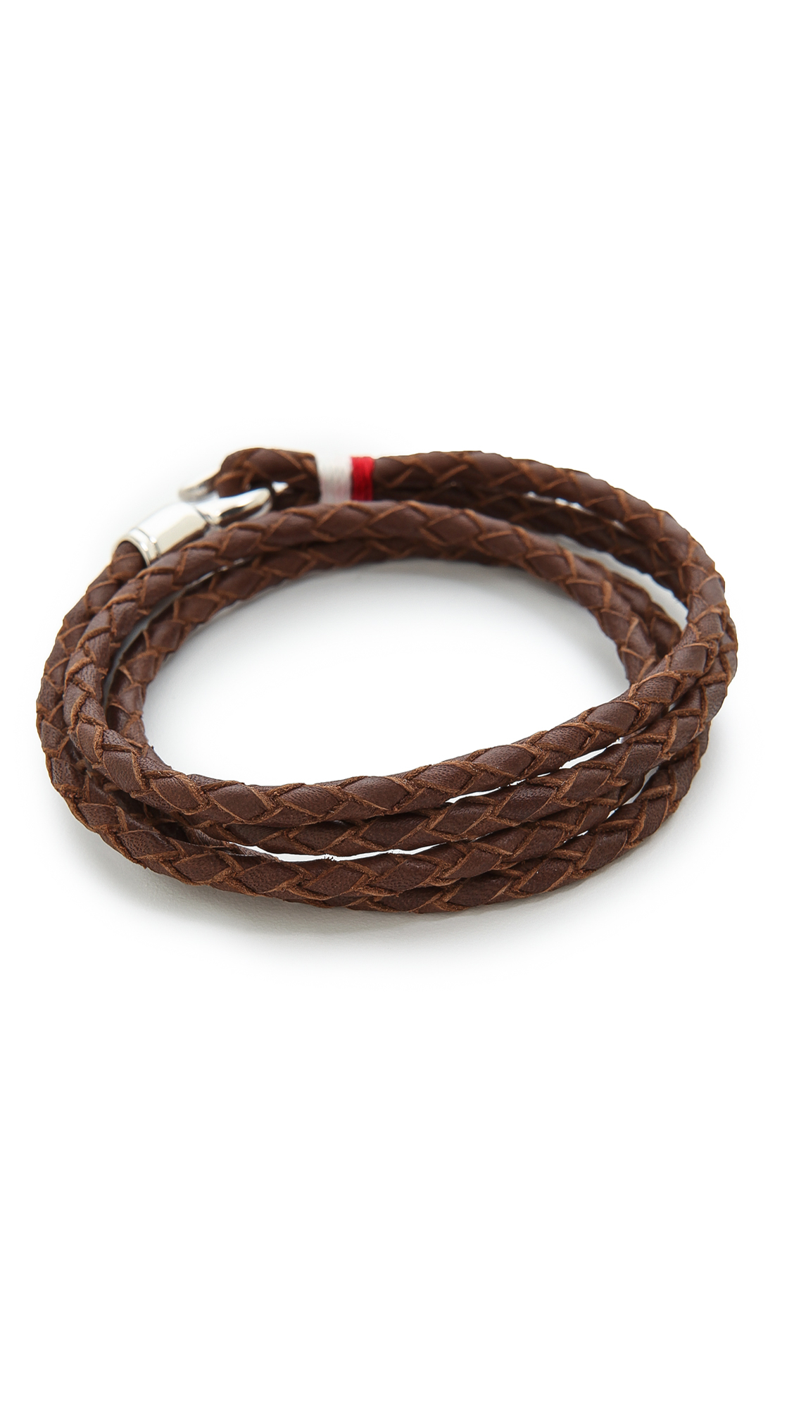 miansai trice woven leather wrap bracelet in brown for