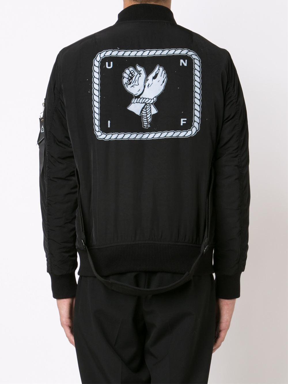 UNIF 'brace' Bomber Jacket in Black (Metallic) for Men