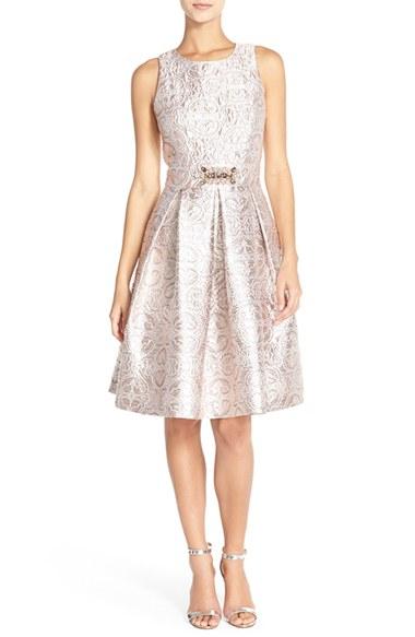 Eliza J Embellished Metallic Jacquard Fit Amp Flare Dress In