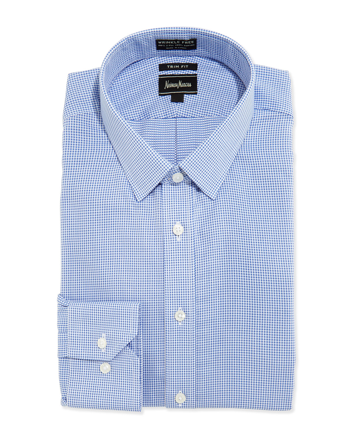 Lyst neiman marcus non iron trim fit gingham check dress for Blue check dress shirt