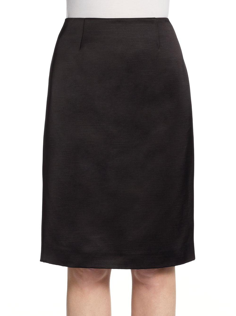 calvin klein satin pencil skirt in black lyst
