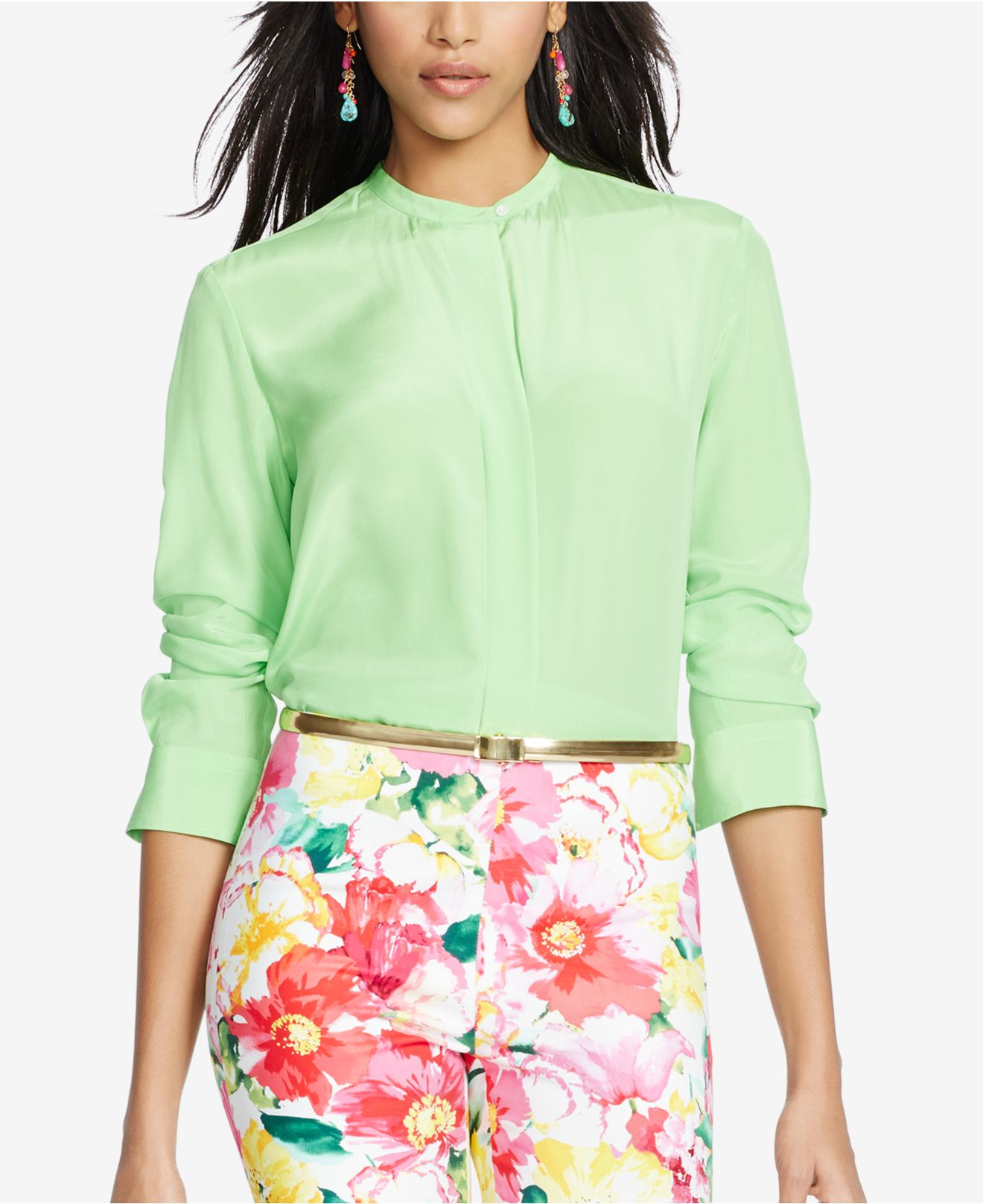 Polo ralph lauren silk long sleeve shirt in green force for Silk long sleeve shirt