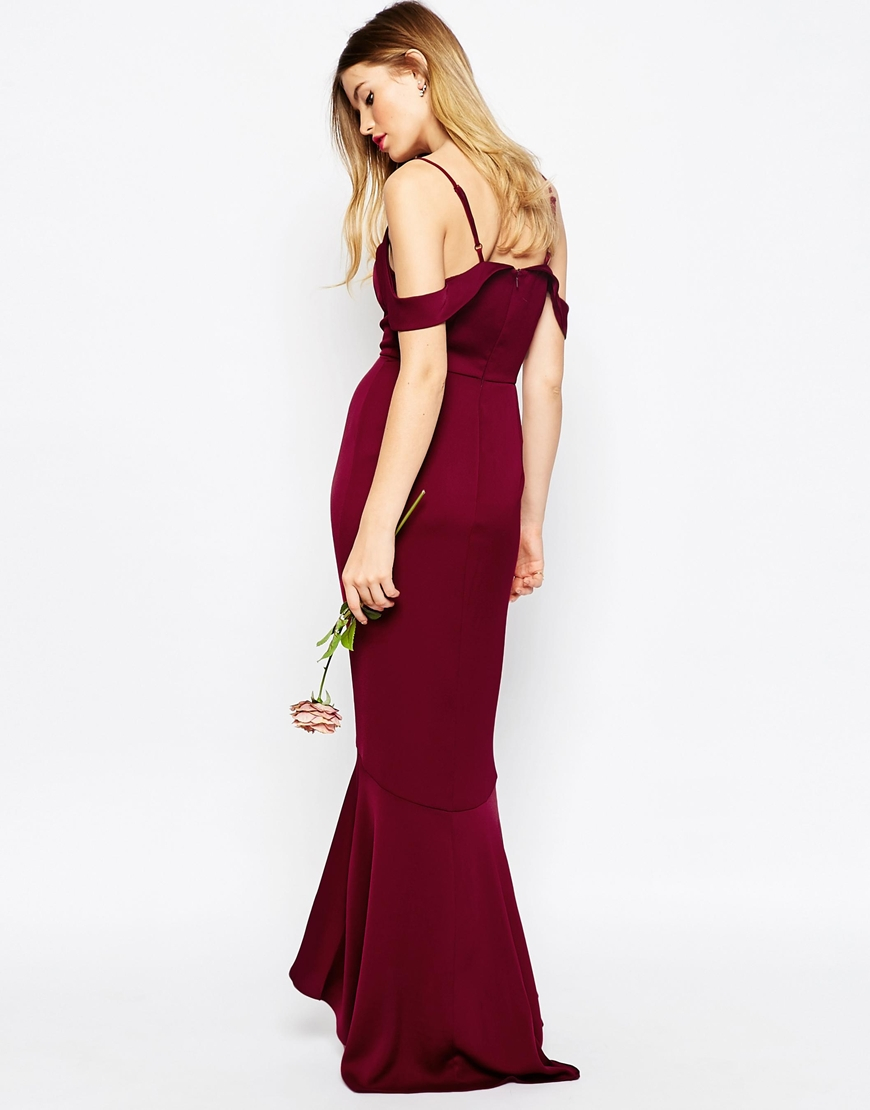 Asos wedding off the shoulder bardot fishtail maxi dress for Purple maxi dresses for weddings