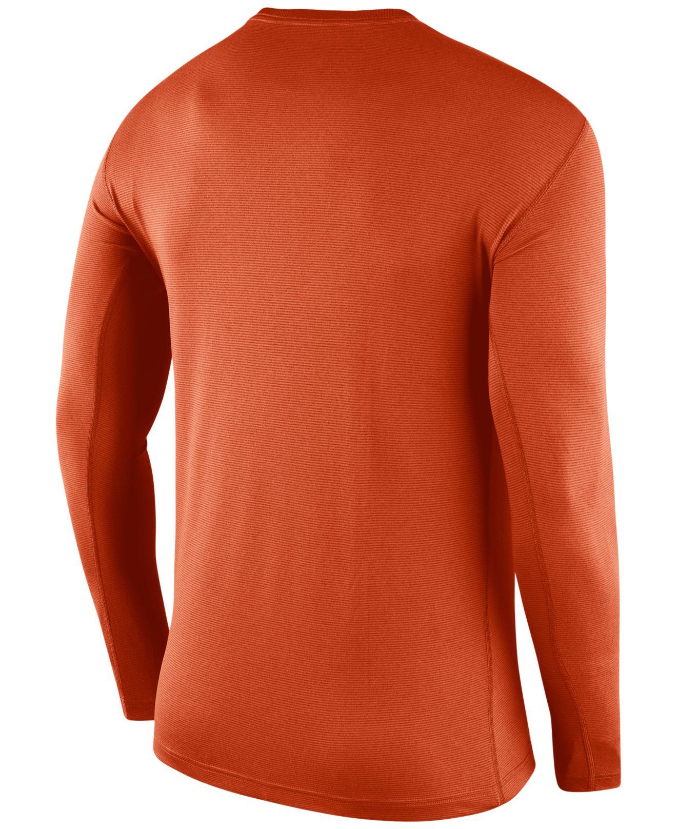 Nike men 39 s long sleeve clemson tigers stadium dri fit for Dri fit t shirt design