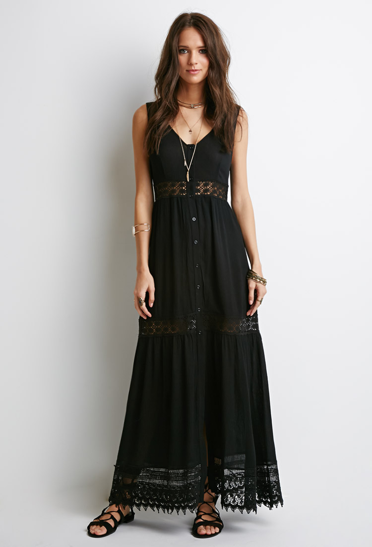 Lyst Forever 21 Crochet Trimmed Crepe Maxi Dress In Black