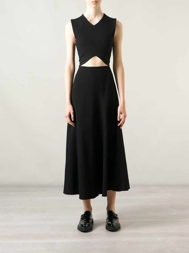 y s yohji yamamoto high waist midi skirt in black lyst