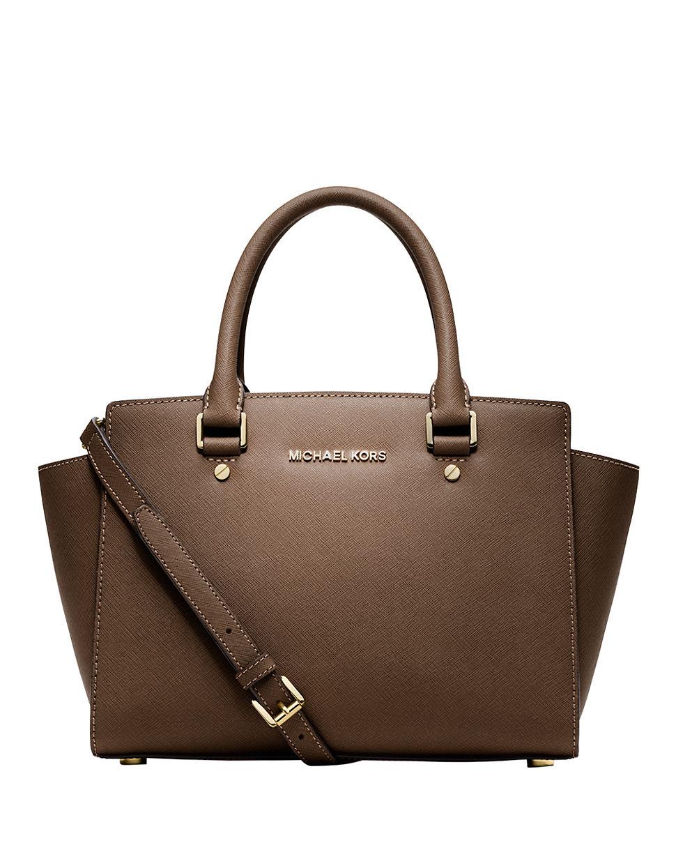 michael michael kors selma leather medium zip satchel in brown dark dune lyst. Black Bedroom Furniture Sets. Home Design Ideas